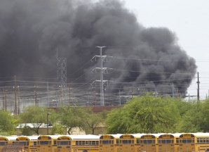 fire and power failure in Mesa, Arizona near University & Power Roads