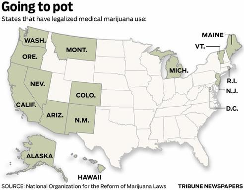 American states that have legalized medical marijuana - Washington, Washington D.C,,           Oregon, California, Nevada, Arizona, Montana, Colorado, New Mexico, Michican,           Maine, Vermont, Rhode Island, New Jersey, Alaska, Hawaii (as of 2011)
